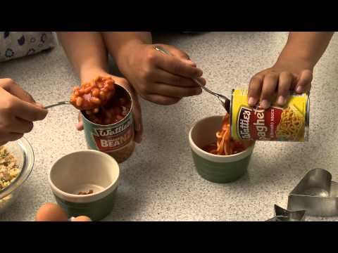 Spaghetti or Baked Beans Toastie Egg Pots – Food in a Minute Recipe
