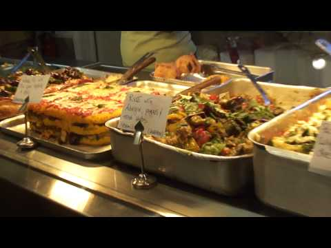 Oven baked food dishes on display inside the Mary Ward Vegetarian Cafe; 19th Nov 2011