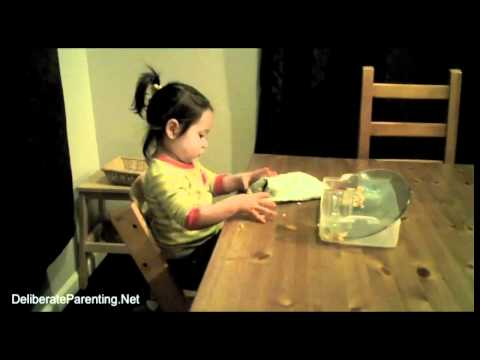 Toddler Clearing Dishes from Dinner Table