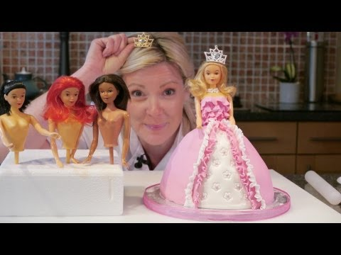 How To Make A Barbie Doll / Princess Cake with icing – Cake Craft World Video 9
