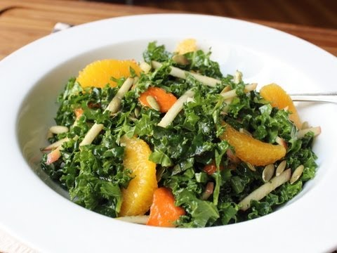 Raw Kale Salad – Sliced Raw Kale with Apples, Oranges, Persimmons & Nuts