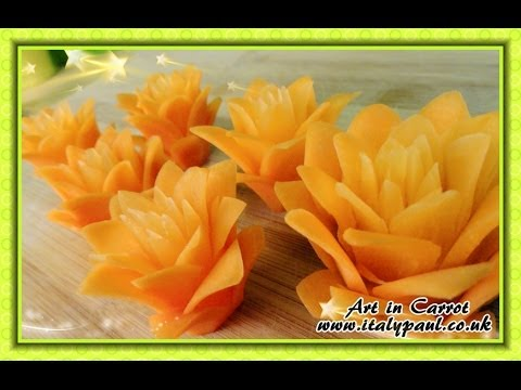 Art In Carrot Show – Vegetable Carving Carrot Flowers – Carrot Roses Garnish