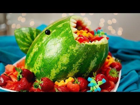 How to Make a Watermelon Shark Fruit Salad!