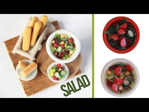 Salads – How to make a miniature salad – Tomatoe – Cucumber – Red Onion – Breadsticks – Polymer Clay