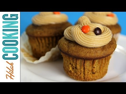 Pumpkin Cupcakes with Salted Caramel Frosting |  Hilah Cooking