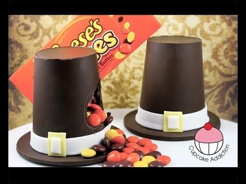 Chocolate Thanksgiving Pilgrim Hat Piñata! NO BAKE Thanksgiving Recipe by Cupcake Addiction