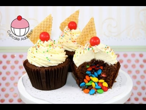 Surprise Pinata Cupcakes! How to make cupcakes with a rainbow candy surprise inside!
