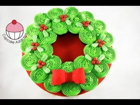 CHRISTMAS CUPCAKE CAKE! Pull-Apart Xmas Wreath Cake – A Cupcake Addiction How To Tutorial