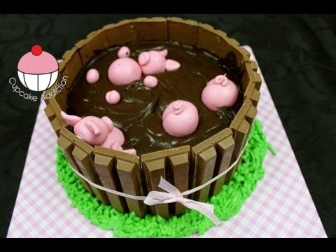 Pigs In Mud Kit Kat Cake! A Cupcake Addiction How To Tutorial Featuring Charlis Crafty Kitchen