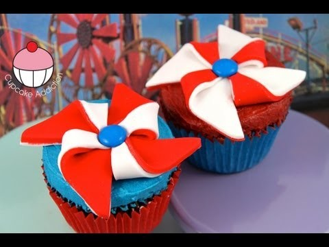 Make Pinwheels (Windmills) for Independence Day Cupcakes – A Cupcake Addiction How To Tutorial