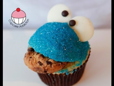 Cookie Monster Cupcakes!! Easy Sesame Street Cupcakes – A Cupcake Addiction How To Tutorial