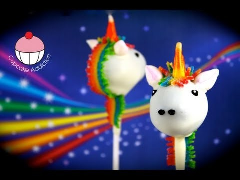 Make Unicorn Cake Pops! How to decorate a Rainbow Unicorn Cakepop by Cupcake Addiction