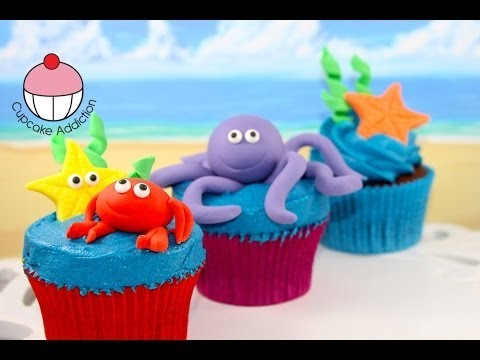 Under the Sea Cupcakes! Make Sugar Sea Creatures – A Cupcake Addiction How To Tutorial