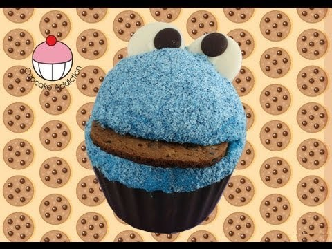 How to make a GIANT COOKIE MONSTER Cupcake – Part 1 of 2 – A Cupcake Addiction Tutorial