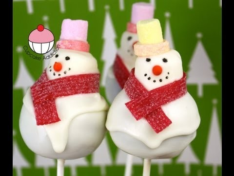Christmas Cake Pop – Frosty the Snowman – A How To Christmas Cakepop Tutorial by Cupcake Addiction