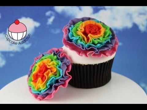 Rainbow Ruffle Flowers! Make from Edible Chocolate or Fondant – A Cupcake Addiction How To Tutorial