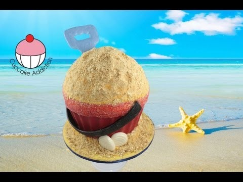 Make a Giant Cupcake Beach Bucket Cake – A Cupcake Addiction How To Tutorial