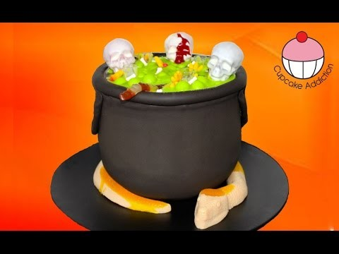 Bubbling Halloween Cauldron Cake with Giant Gummi Snake by Cupcake Addiction