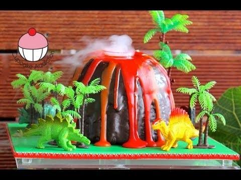 Make a Smoking Volcano Cake – Dinosaur / Hawaiian Party – A Cupcake Addiction How To Tutorial