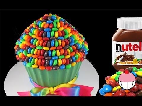 Nutella M&M's Giant Cupcake Rainbow Cake with Cupcake Addiction