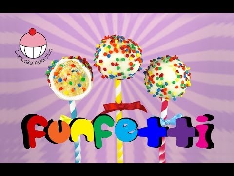 Make FUNFETTI Cake Pops! A Rainbow of Sprinkles Inside & Out! A Cupcake Addiction How To Tutorial