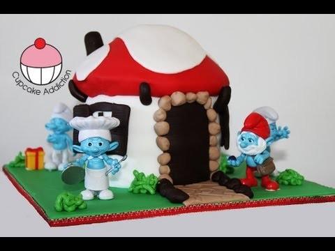 Smurf Cake! Make a Smurfs 2 Smurf Village Cake – A Cupcake Addiction How To Tutorial