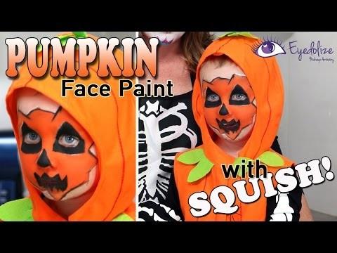 Kids Pumpkin Face Paint Halloween Tutorial with Squish from MyCupcakeAddiction
