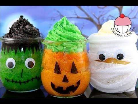 Make Halloween Cupcake Jars with YoyoMax12 & MyCupcakeAddiction – Frankenstein, Pumpkin & Mummy!