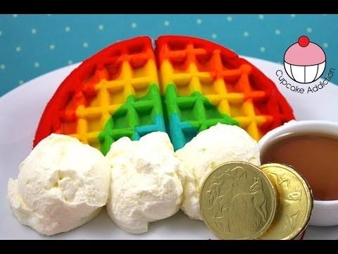 How to Make RAINBOW WAFFLES! Easy Rainbow Waffle Recipe by Cupcake Addiction