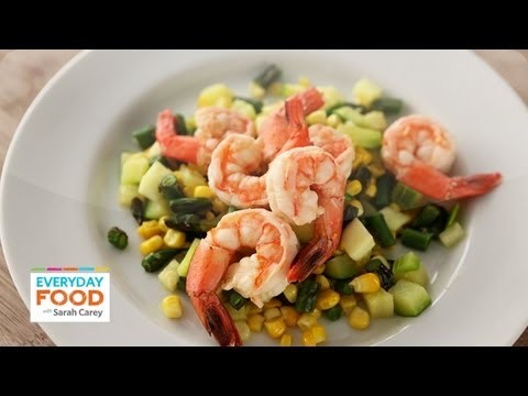 Poached Shrimp on Succotash – Everyday Food with Sarah Carey