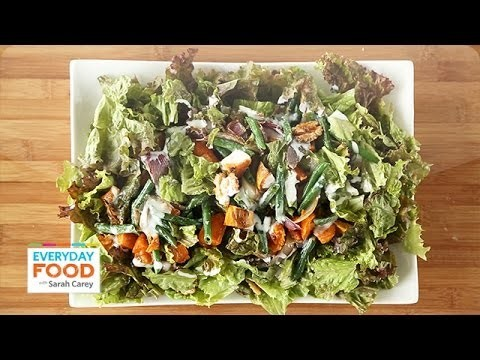 Red-Leaf Salad with Roasted Sweet Potatoes – Everyday Food with Sarah Carey