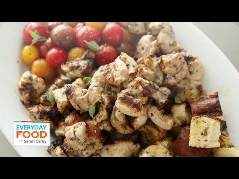 Chicken, Tomato, & Bread-Cube Kebabs with Lemon Oregano Marinade – Everyday Food with Sarah Carey
