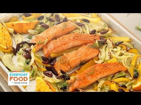 Salmon with Fennel, Bell Pepper, and Olives – Everyday Food with Sarah Carey