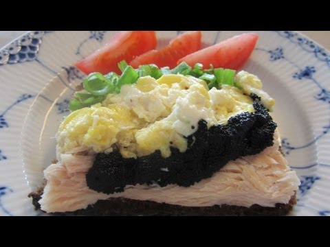 Smørrebrød Danish Open Face Smoked White Fish with Caviar Sandwich for lunch of dinner!