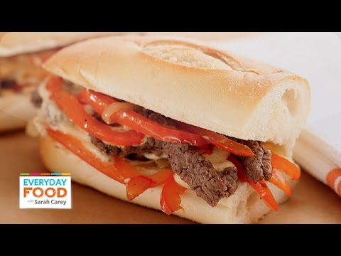 Cheese Steak with Softened Peppers and Onions Sandwich – Everyday Food with Sarah Carey