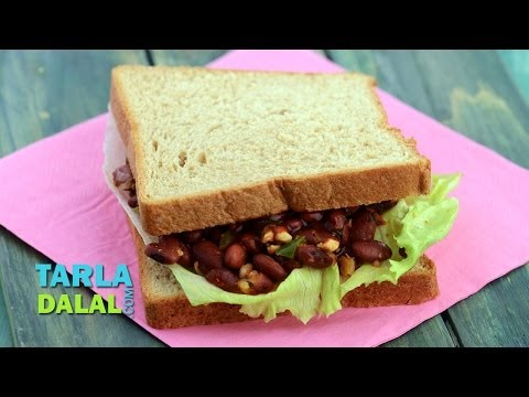 Rajma and Paneer Sandwich (Healthy Snack for Kids) by Tarla Dalal