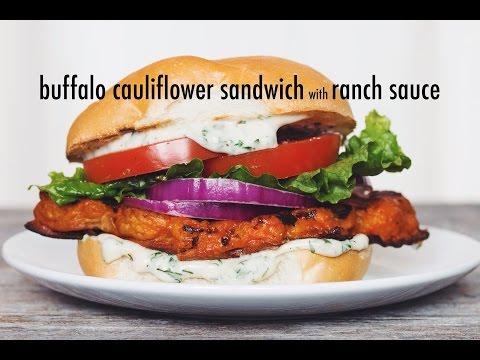 vegan buffalo cauliflower sandwich with ranch sauce