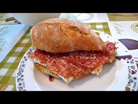 ASMR – I'm eating breakfast – sandwich with cheese and salami and a fresh salad