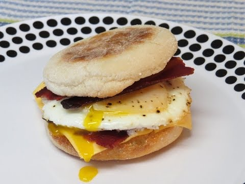 Bacon and Egg Breakfast Sandwich Cooked in the Toaster Oven
