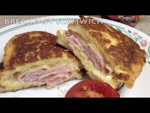 Breakfast Slamwich Fried Ham Sandwich video recipe cheekyricho