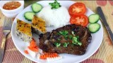 Broken Rice with Grilled Pork Chop and Meatloaf – Com Tam Suon Cha Trung